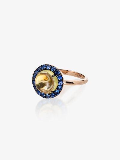 18K yellow gold quartz sapphire ring