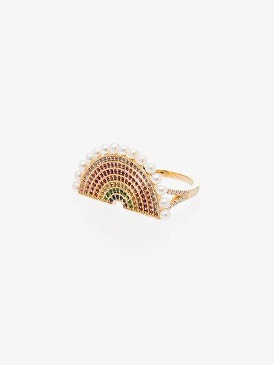 18K yellow gold rainbow sapphire ring