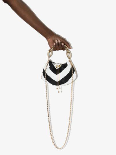 black and white Bubble drawstring mini bag