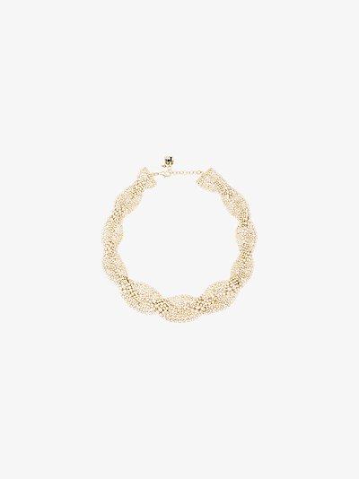 Gold tone Chevron crystal choker