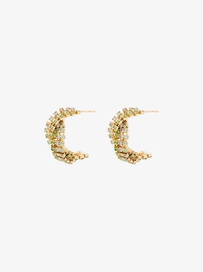 gold tone Chevron crystal twist earrings