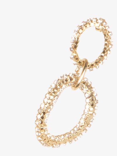 Gold Tone Crystal Drop Hoop Earrings