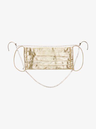 gold tone crystal embellished face mask