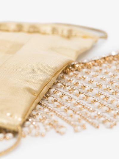 gold tone crystal fringe face mask
