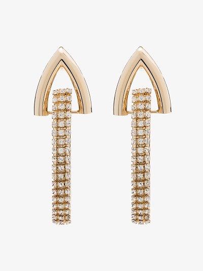 gold tone link crystal earrings