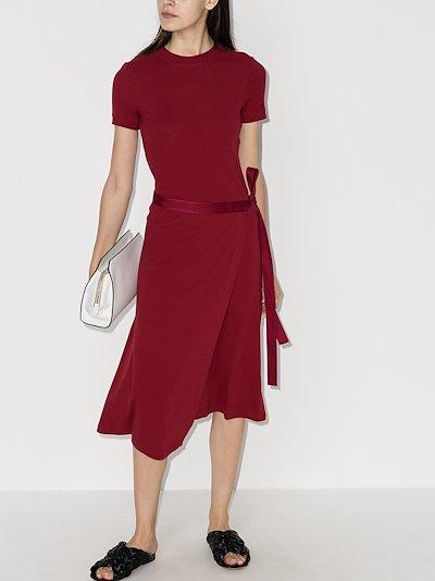 apron wrap cotton midi dress