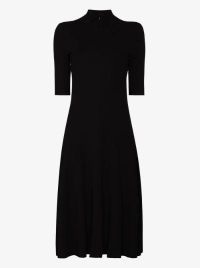 turtleneck flared midi dress