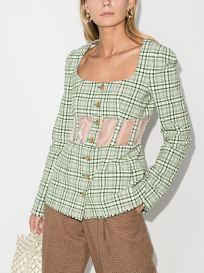 Checked cutout corset blazer