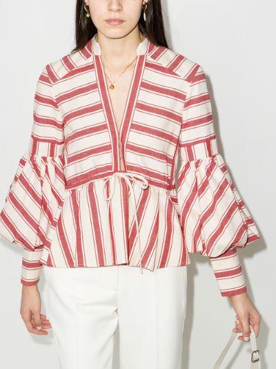 lantern sleeve striped top