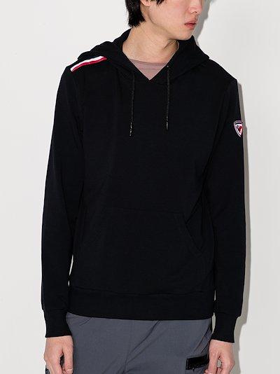 Black Shoulder Stripe Hoodie