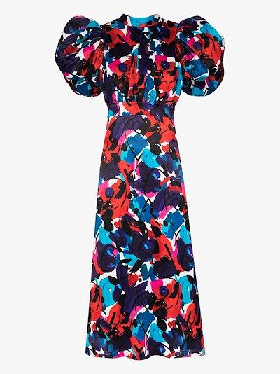 Dawn floral puff sleeve midi dress