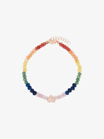 14K rose gold heart beaded diamond bracelet