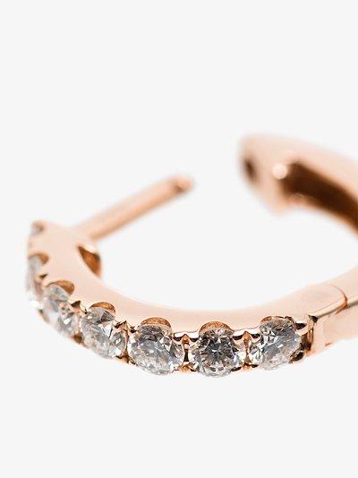 14K rose gold medium chubby diamond hoop earring