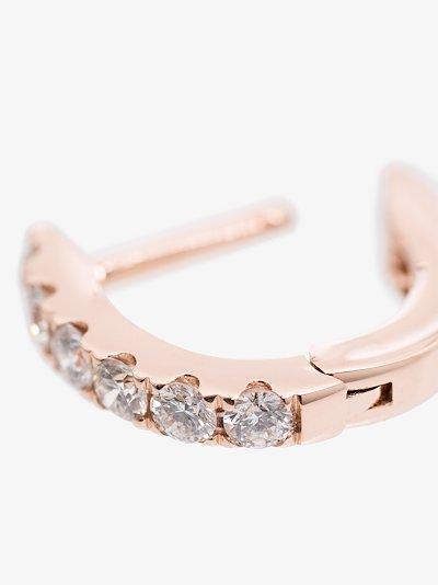 14K rose gold mini chubby diamond hoop earring
