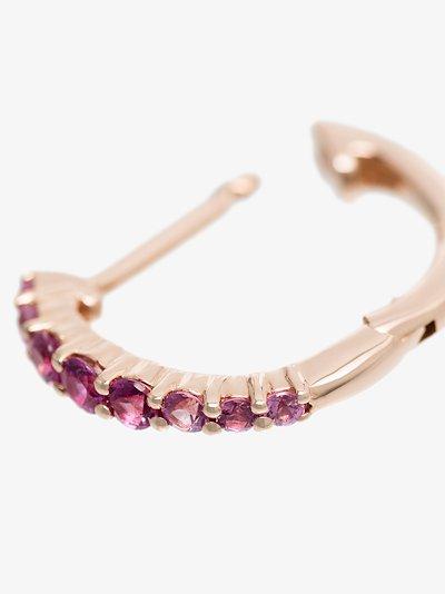 14K rose gold pink sapphire diamond hoop earring