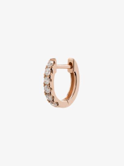 14K Rose Gold Small Chubby diamond huggie earring