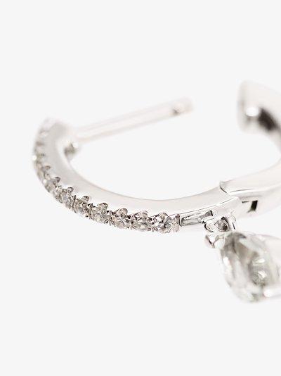 14K white gold amethyst drop diamond hoop earring