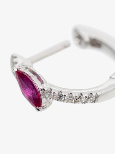 14K White Gold Diamond Sapphire Marquise Earring