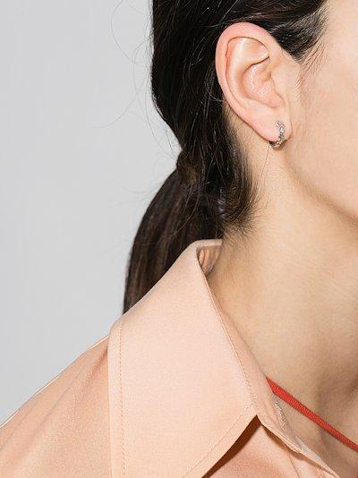 14K white gold rainbow sapphire hoop earring