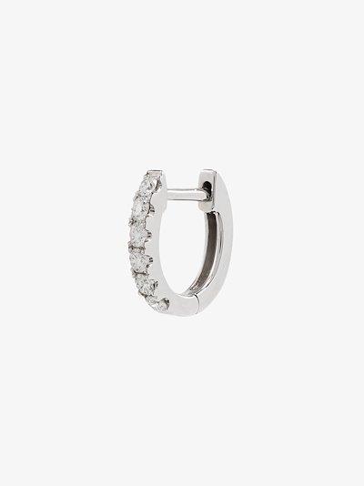 14K white gold Small Chubby diamond huggie earring