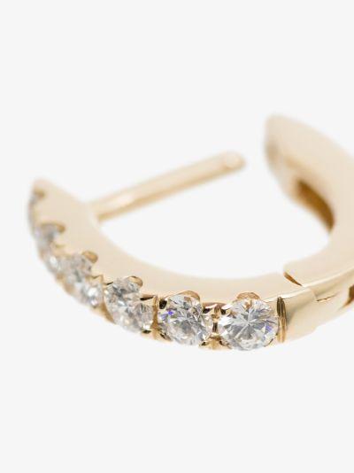 14K yellow gold mini chubby diamond hoop earring