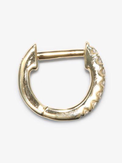 14K yellow gold teeny weeny diamond hoop earring