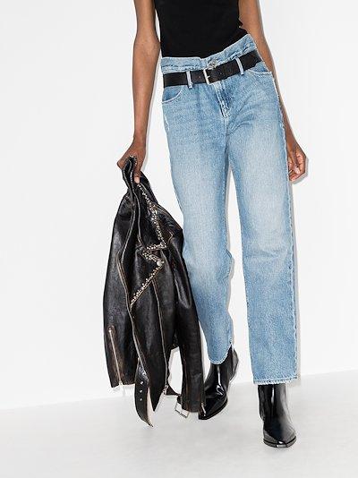 dexter belted boyfriend jeans