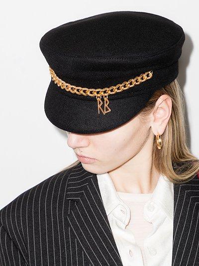 black chain baker boy hat