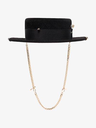Black chain strap boater hat