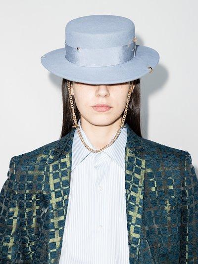 blue piercing felt canotier hat