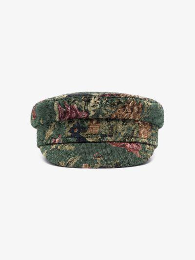 Green Blossom Baker Boy Hat