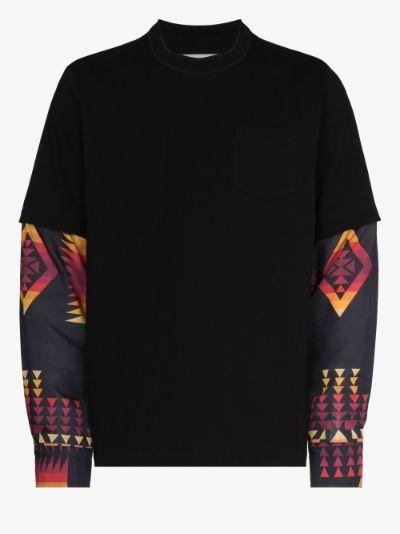 archive print mix long sleeve T-shirt