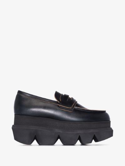 black flatform leather loafers