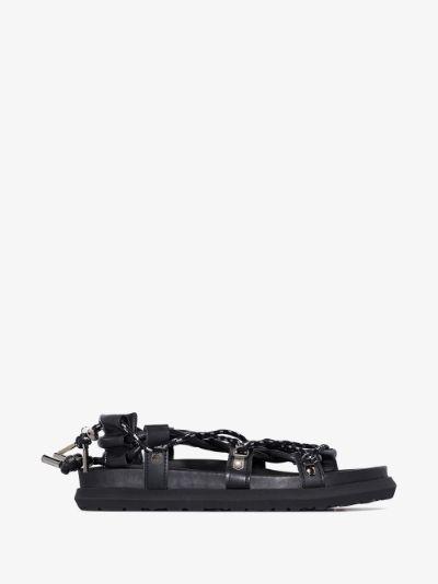 black lace-up leather sandals