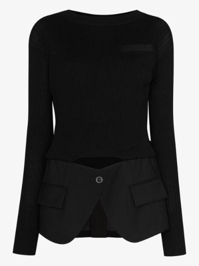 blazer detail sweater