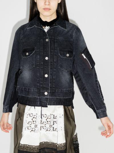 contrast denim bomber jacket