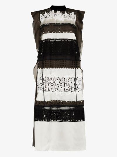 crochet panelled midi dress