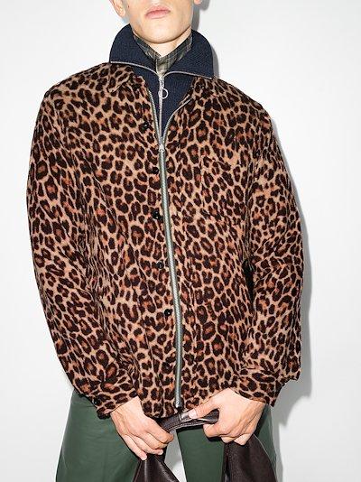leopard print shrivel zip shirt