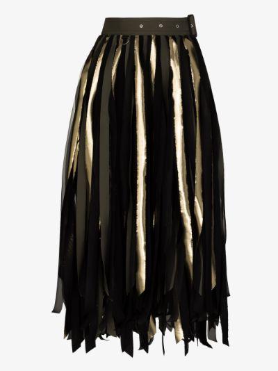 Mixed fringe midi skirt