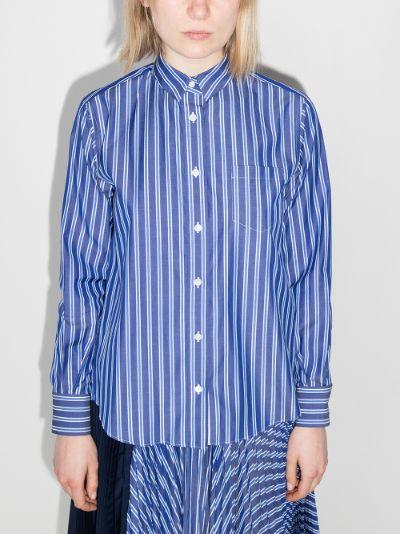 striped button-up cotton shirt