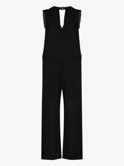 v-neck wool jumpsuit