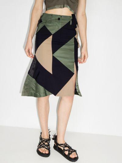 X Hank Willis Thomas patchwork midi skirt