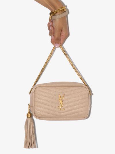 beige Lou mini leather camera bag
