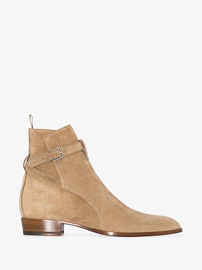 beige Wyatt 30 suede ankle boots
