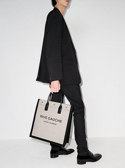 black and white Rive Gauche tote bag