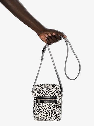 black and white sid printed messenger bag