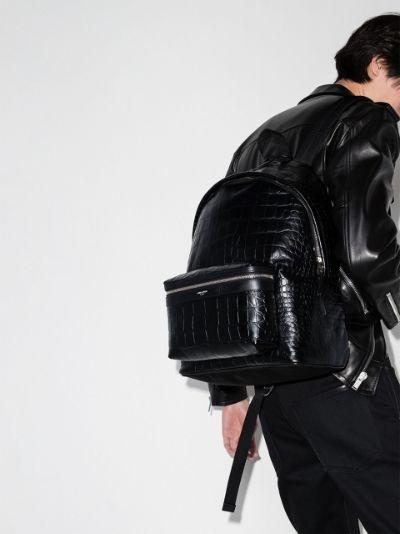 black City mock croc leather backpack