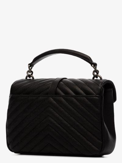 black College medium leather top handle bag