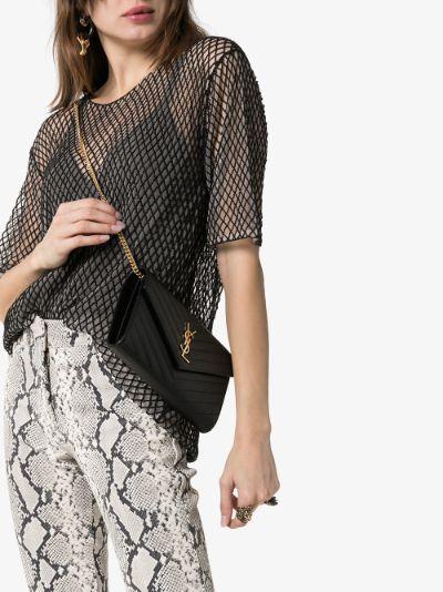 black Envelope leather cross body bag
