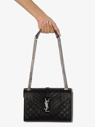 black Envelope small leather shoulder bag